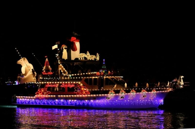 boat parade at night in Fort Myers